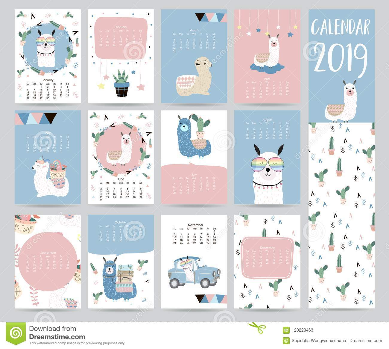 photograph relating to Cute Monthly Calendar Printable named Adorable Month to month Calendar 2019 With Llama,baggage,cactus