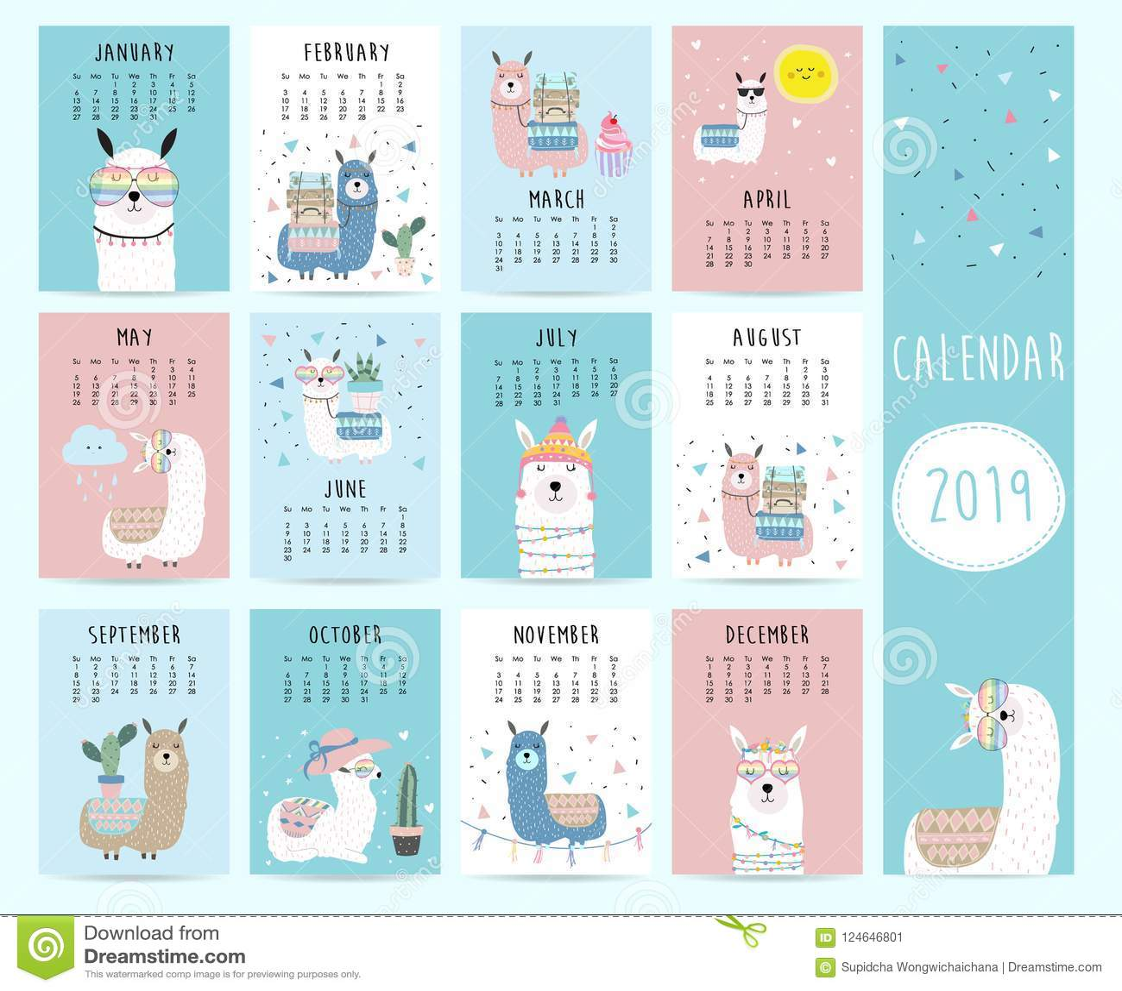 Cute Monthly Calendar 2019 With Llama Luggage Cactus Geometrical