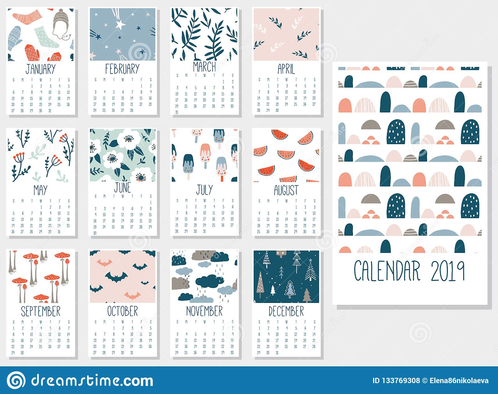 picture relating to Cute Monthly Calendar Printable identify Adorable month-to-month calendar 2019 inventory vector. Example of