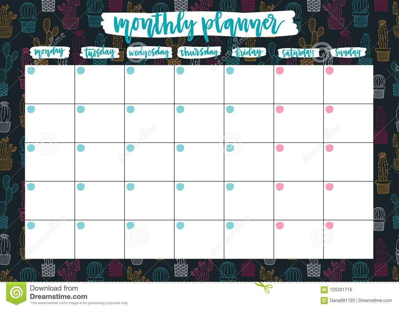 Cute Monthly Planer For 2019 Year On Cacti Background A4 Print