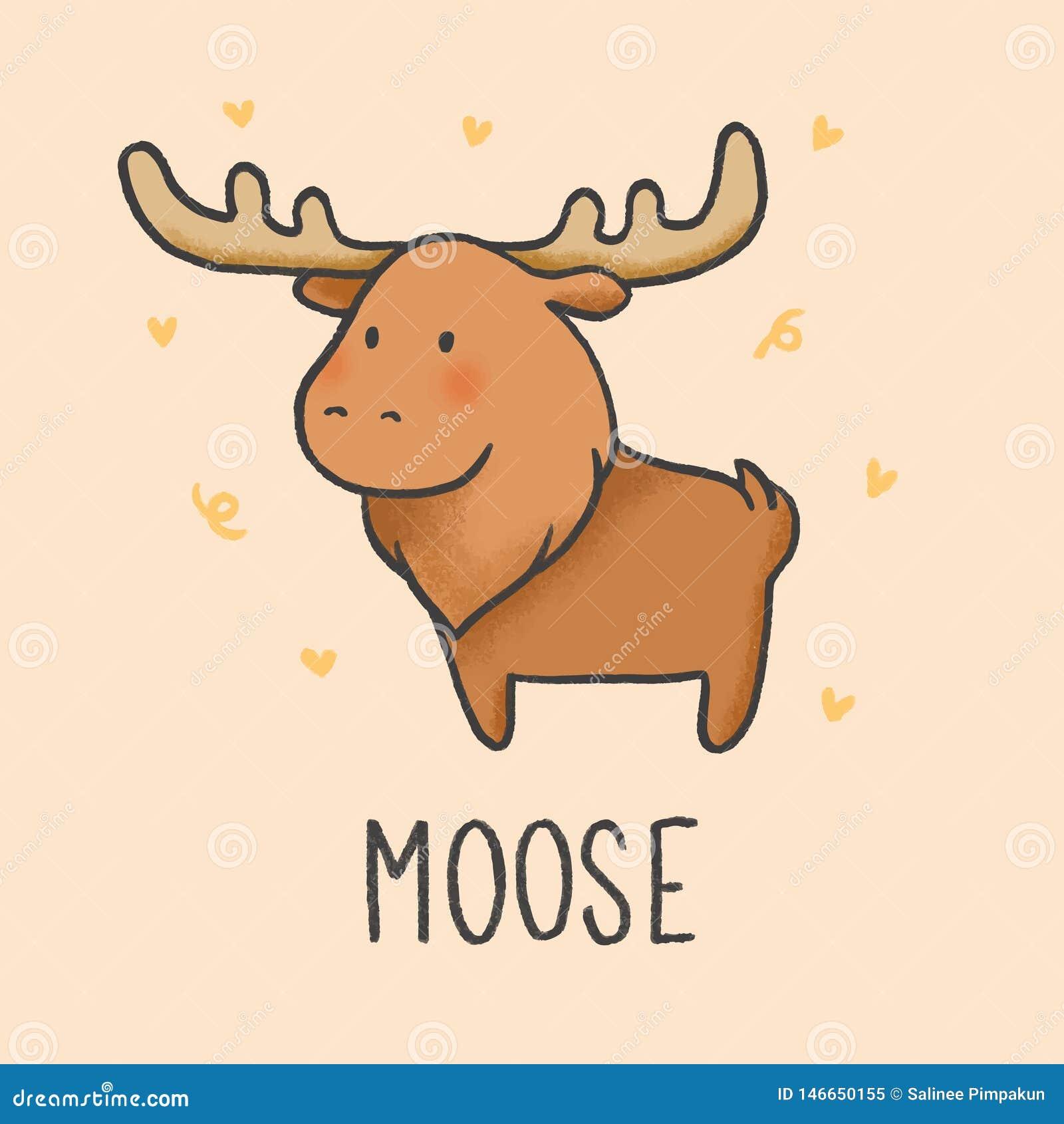 Cute Moose cartoon hand drawn style