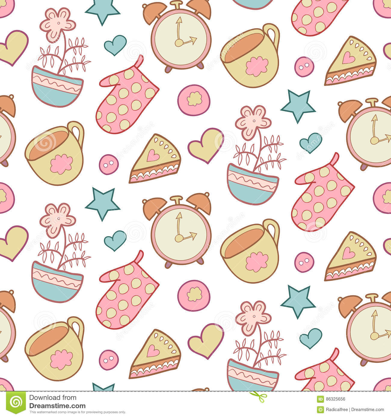 cute morning vector seamless pattern with star flower