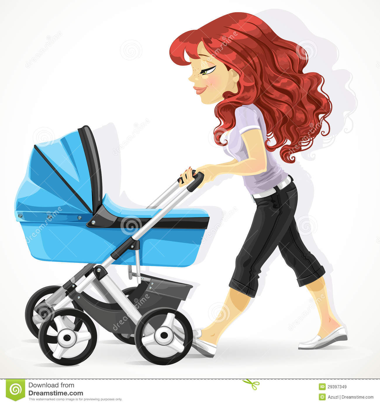 Cute Mother With A Blue Pram On Walk Royalty Free Stock Images - Image ...