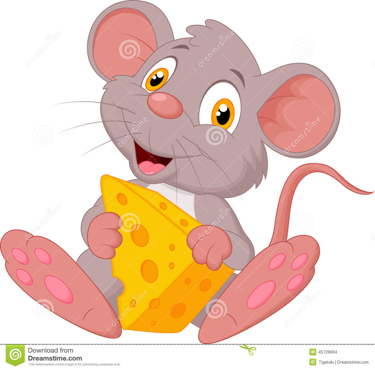 funny mouse cartoon holding cheese royalty free stock photos