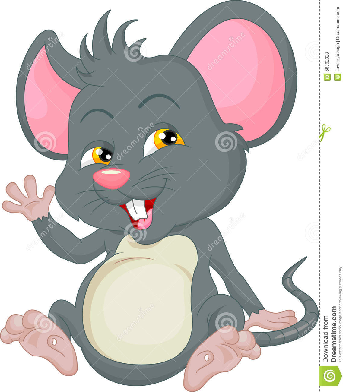 Cute Mouse Cartoon Waving Stock Vector - Image: 58392328