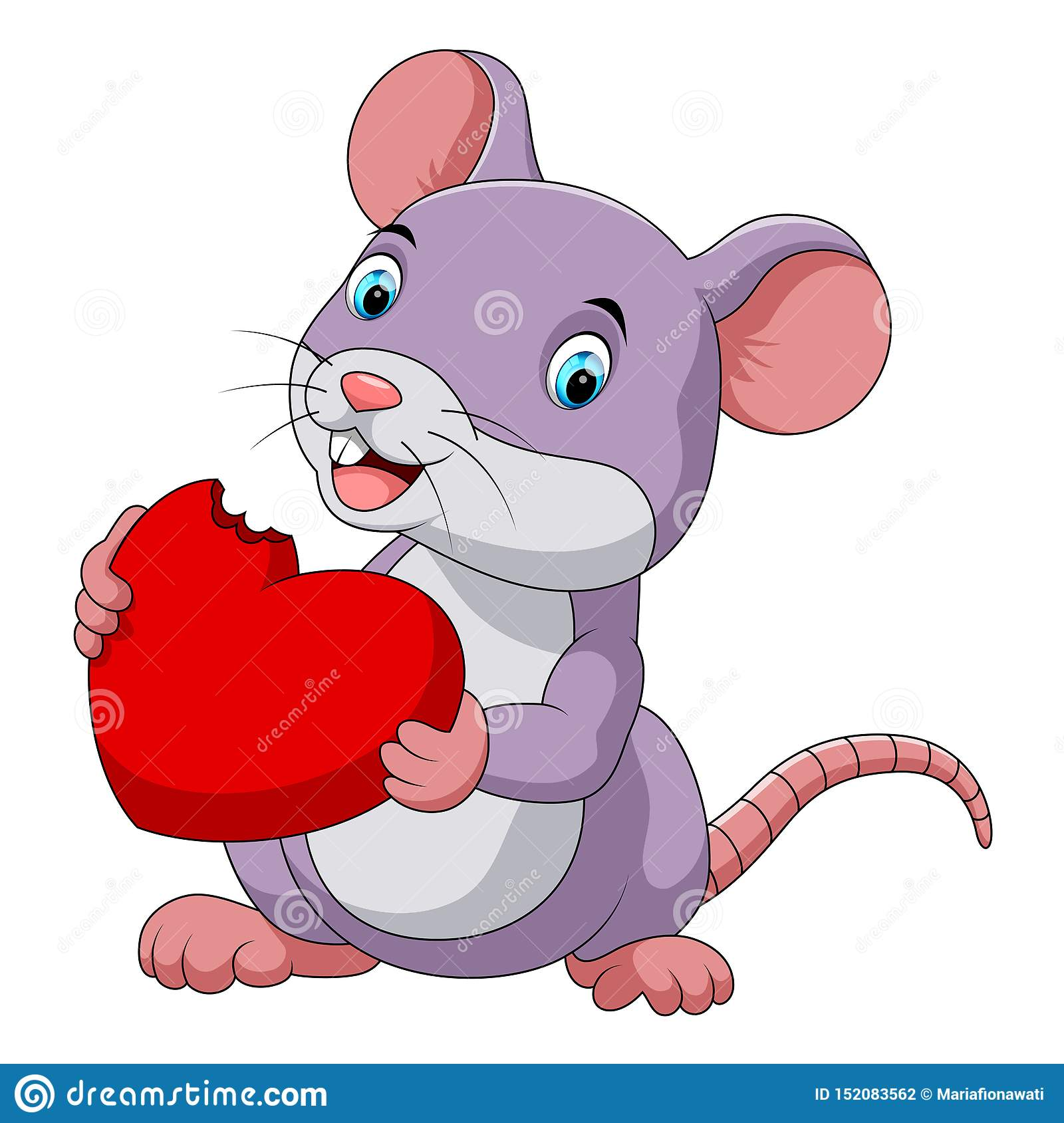 Cute mouse eating red hat