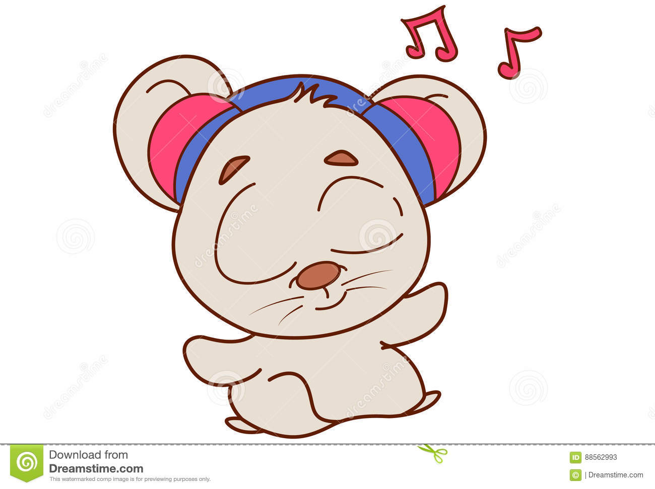Cute Mouse With Headphones Plugged In And Listening To Music. Stock ... 3f72a511904