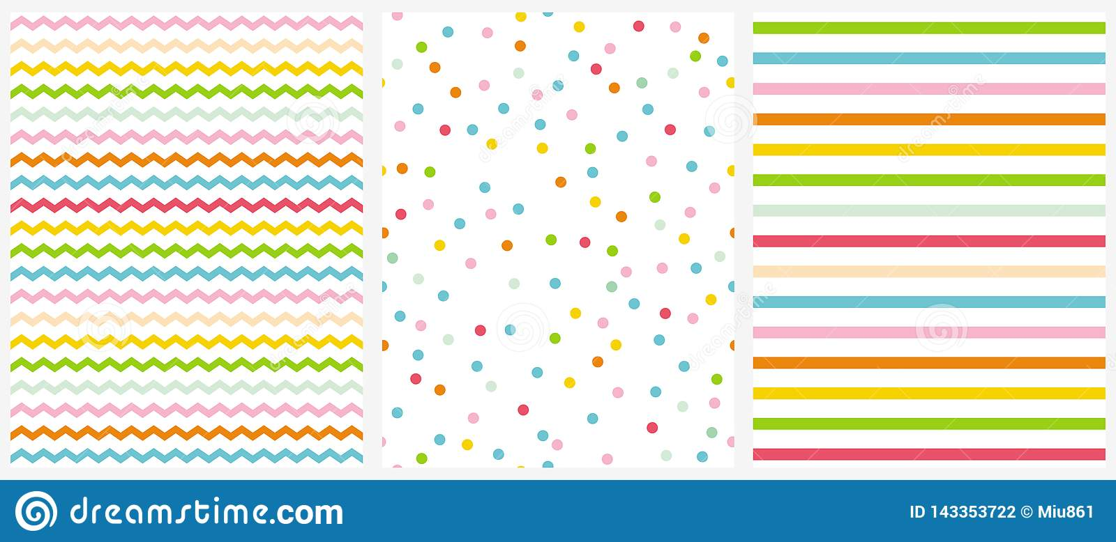 Cute Multicolor Geometric Seamless Vector Patterns. Pink, Blue, Yellow and Green Polka Dots, Tiny Chevron and Vertical Stripes.