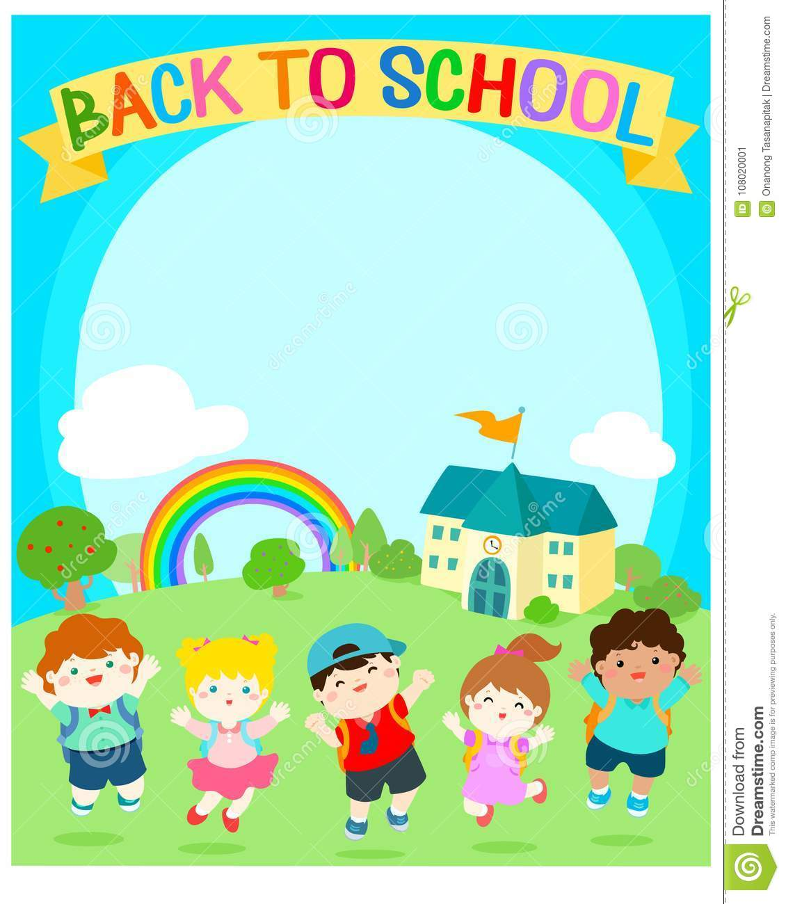 Cute Multiracial Children Joyful At School Background Template For Advertising Posteryour Text Ready Your Message Colorful Rainbow With In