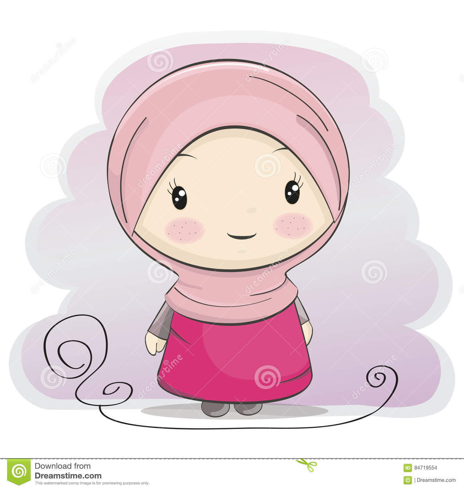 A Cute Muslim Girl Cartoon Illustration Stock Vector Illustration
