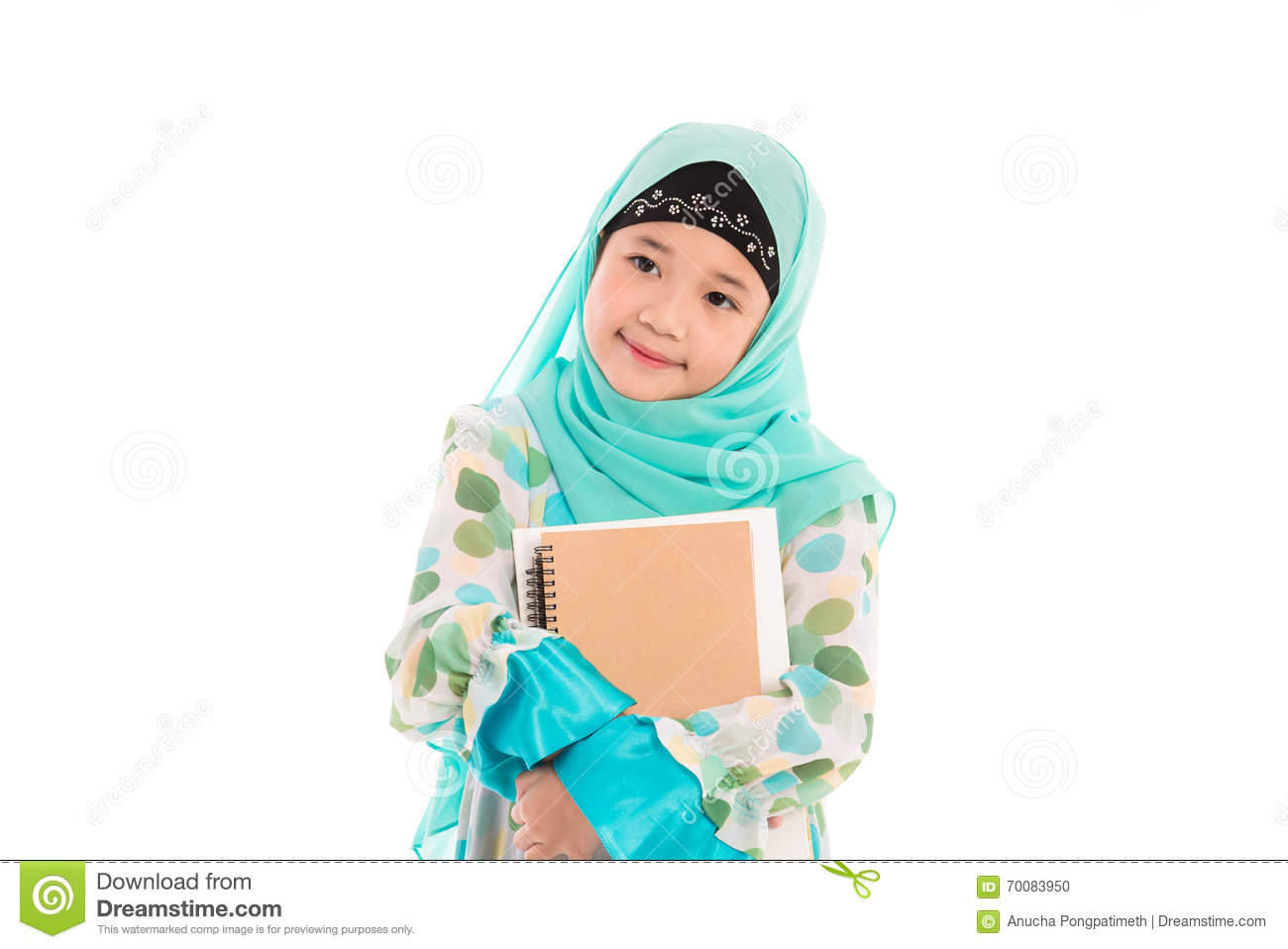 Close up of cute muslim girl on white background isolated