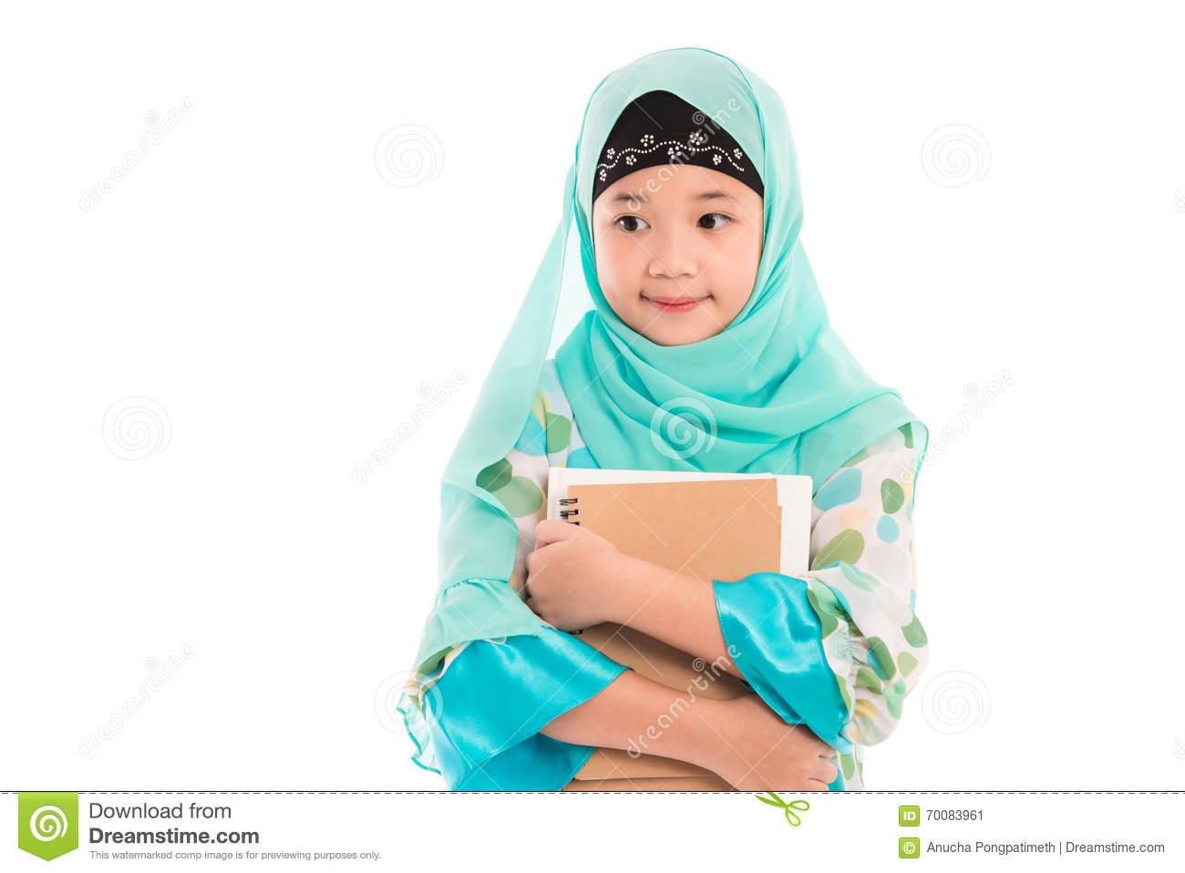 Cute muslim girl close up of cute muslim girl on white background isolated stock image