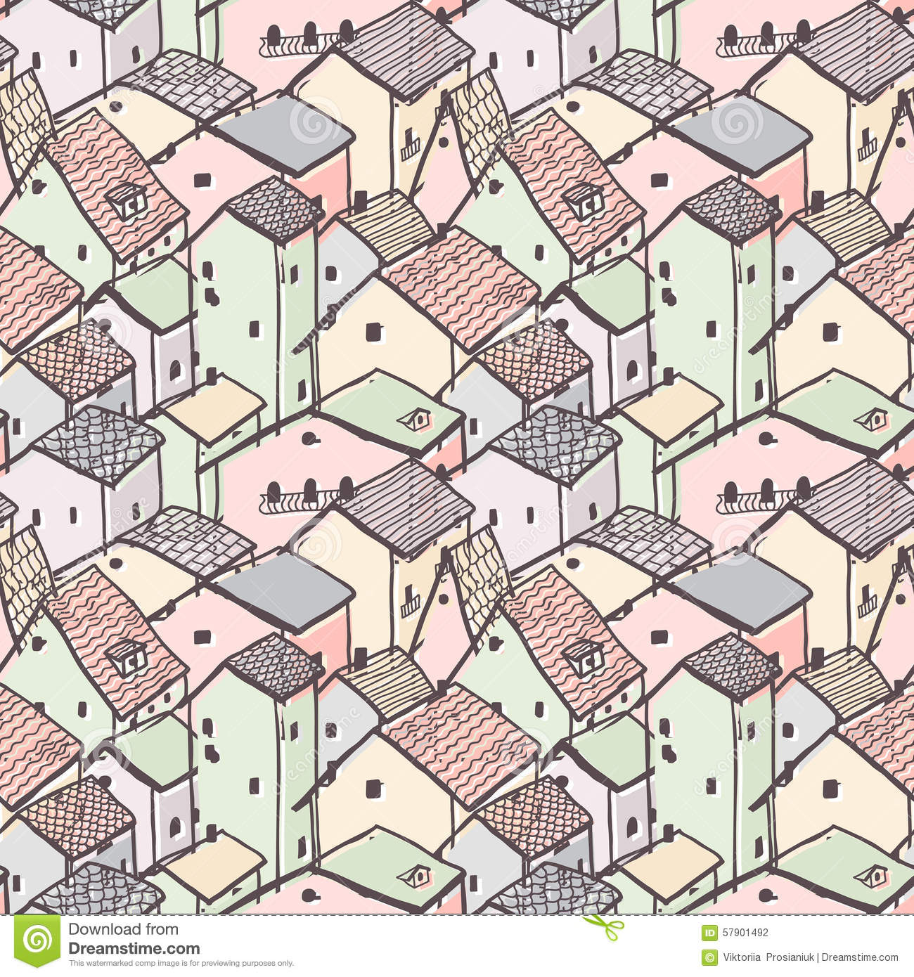 Cute naive house seamless vector pattern city pattern for House pattern