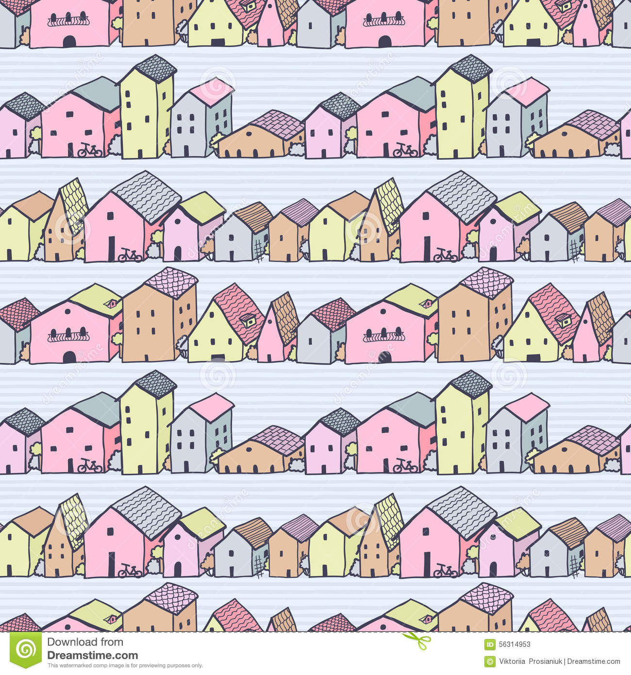 Cute naive house seamless vector pattern with stripes for House pattern