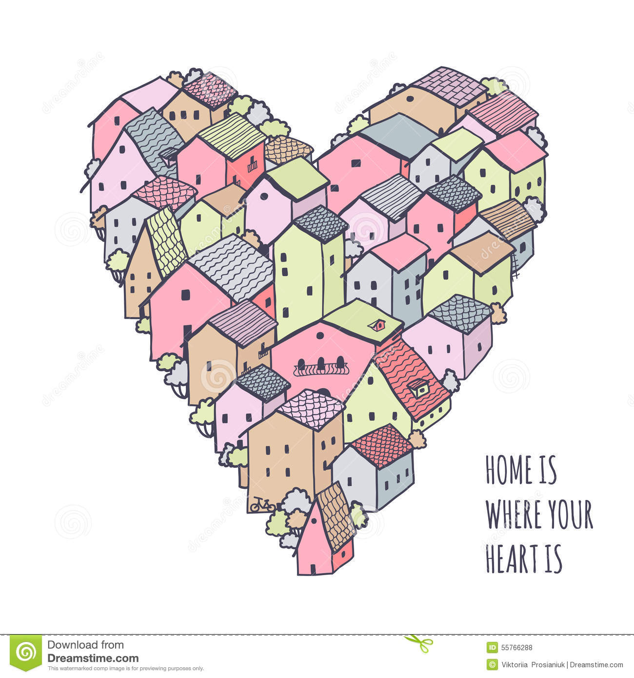 Cute naive house vector heart background kids style for How to draw a cute house