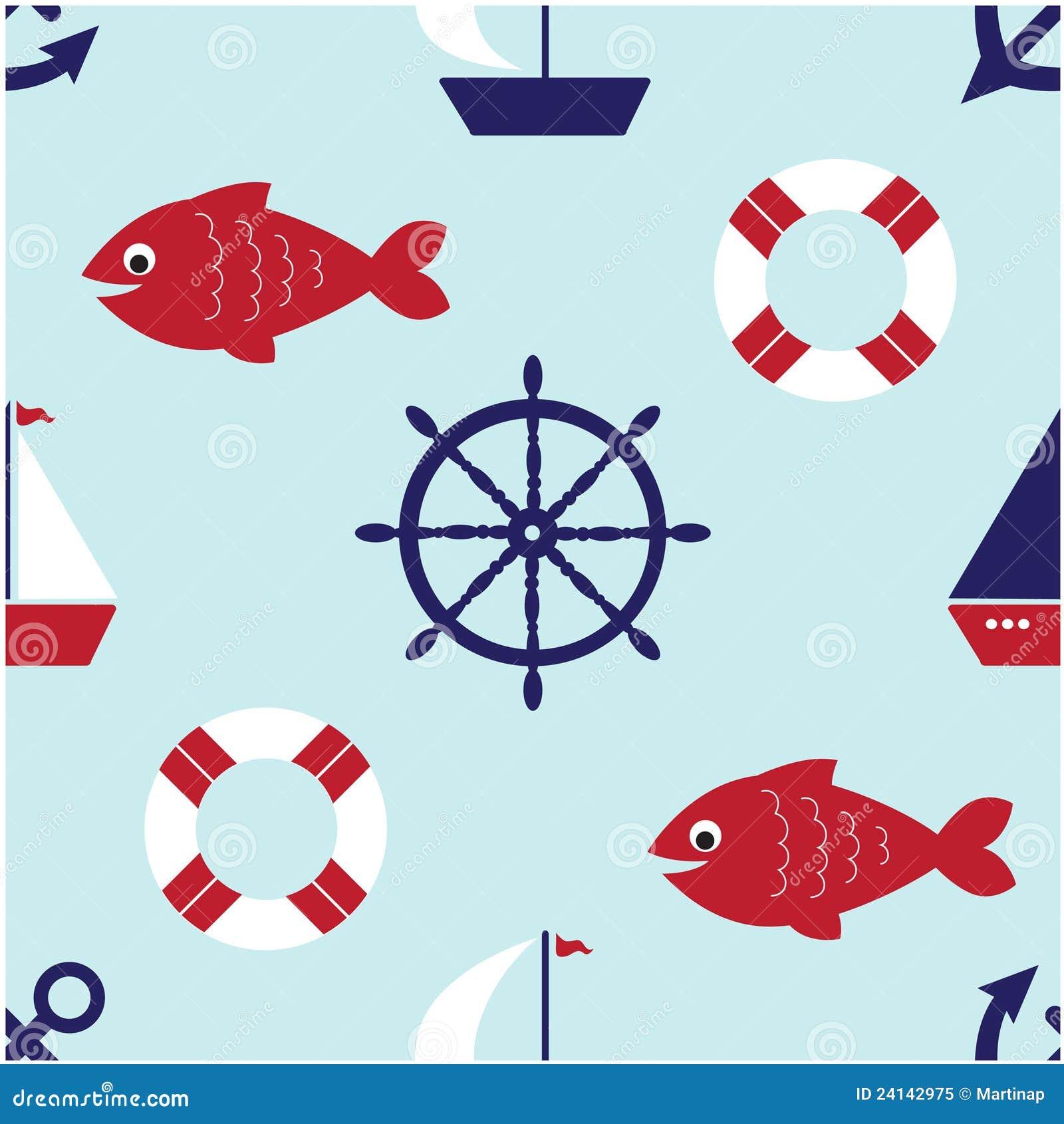 Cute Nautical Seamless Pattern Royalty Free Stock Photo