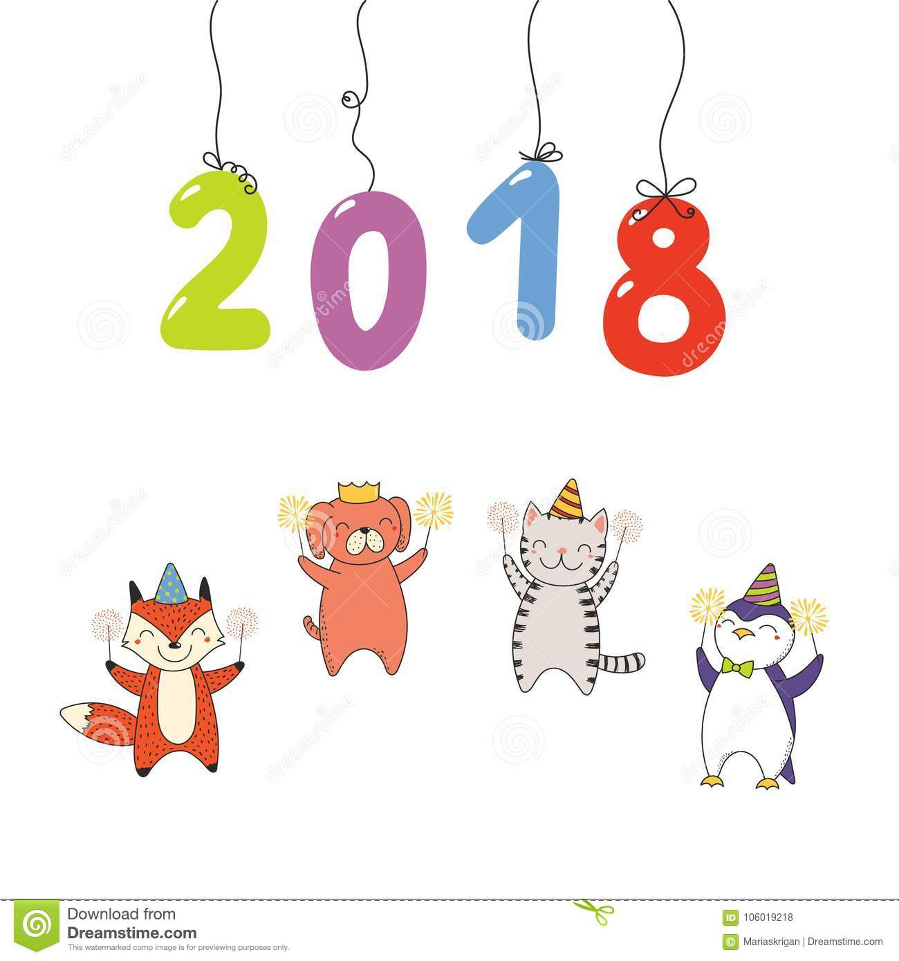 Cute New Year card, banner stock vector. Illustration of font ...