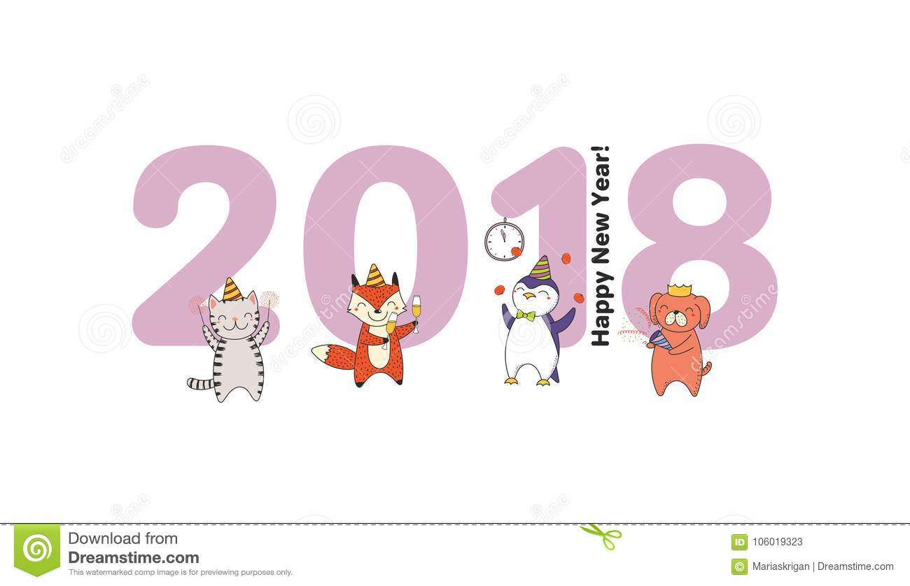 Cute New Year card, banner stock vector. Illustration of animals ...