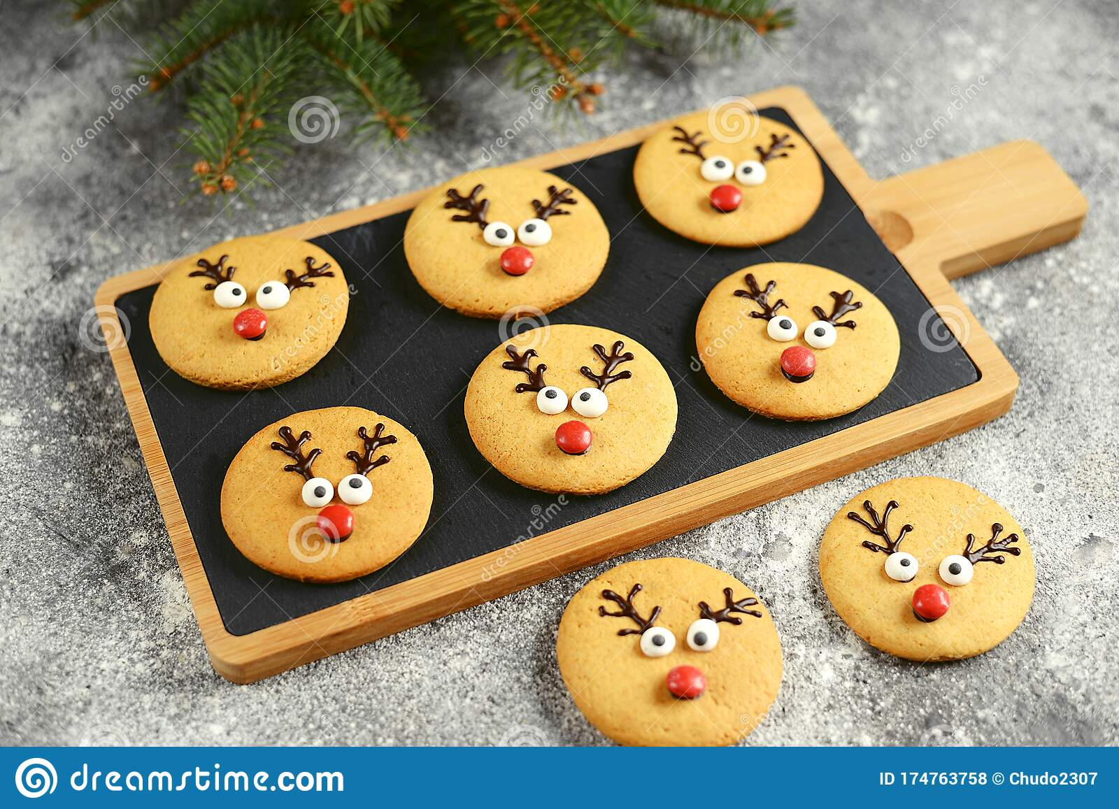 Cute New Year And Christmas Gingerbreads Santa Deer Homemade Christmas Baking Christmas Cookies Stock Photo Image Of Christmas Decorated 174763758