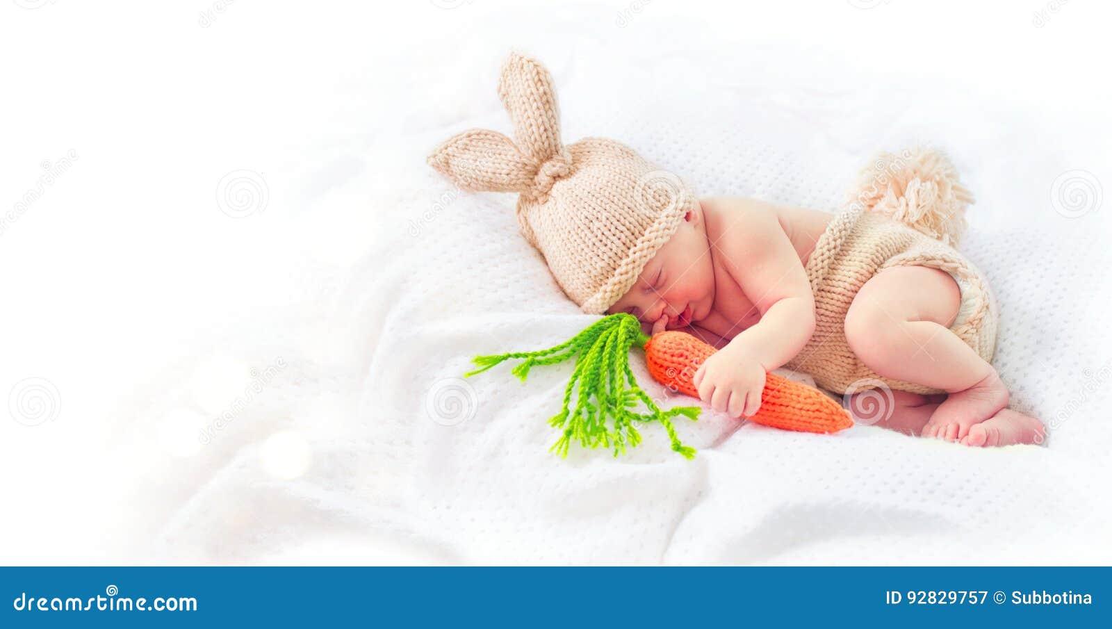 Cute Newborn Baby Boy Wearing Knitted Bunny Costume Stock Image