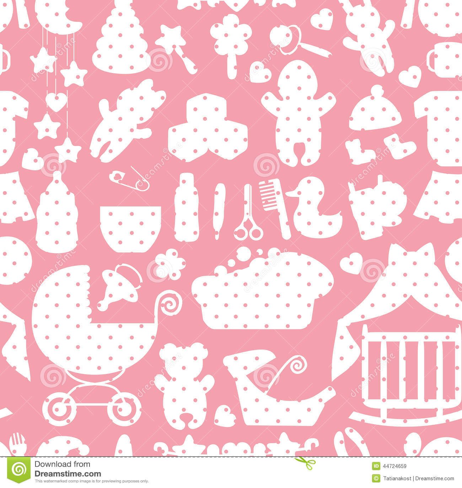 Cute Newborn Baby Girl Seamless Pattern Stock Vector ...
