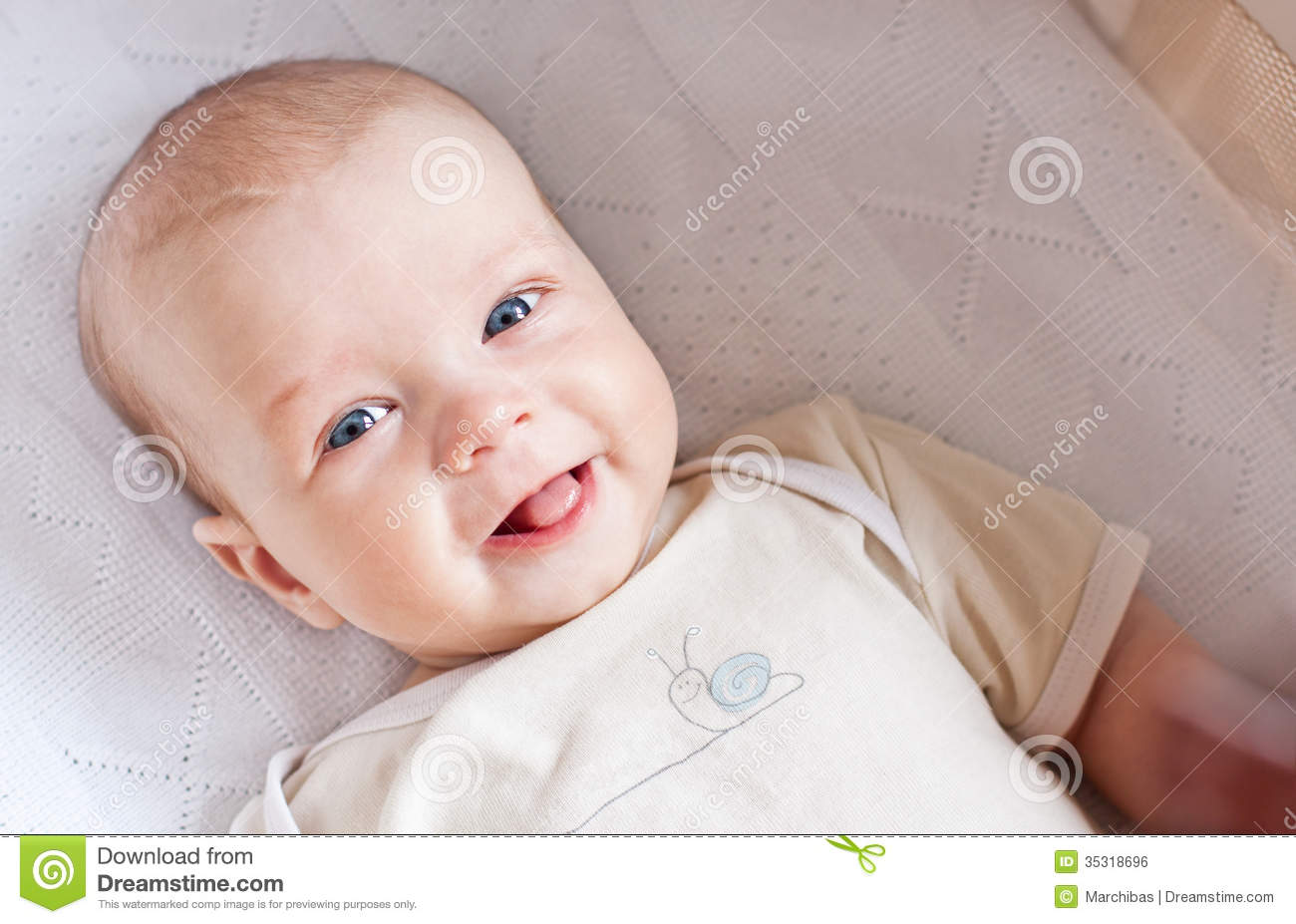Cute Newborn Baby Smiling Stock Photo Image Of Cute 35318696