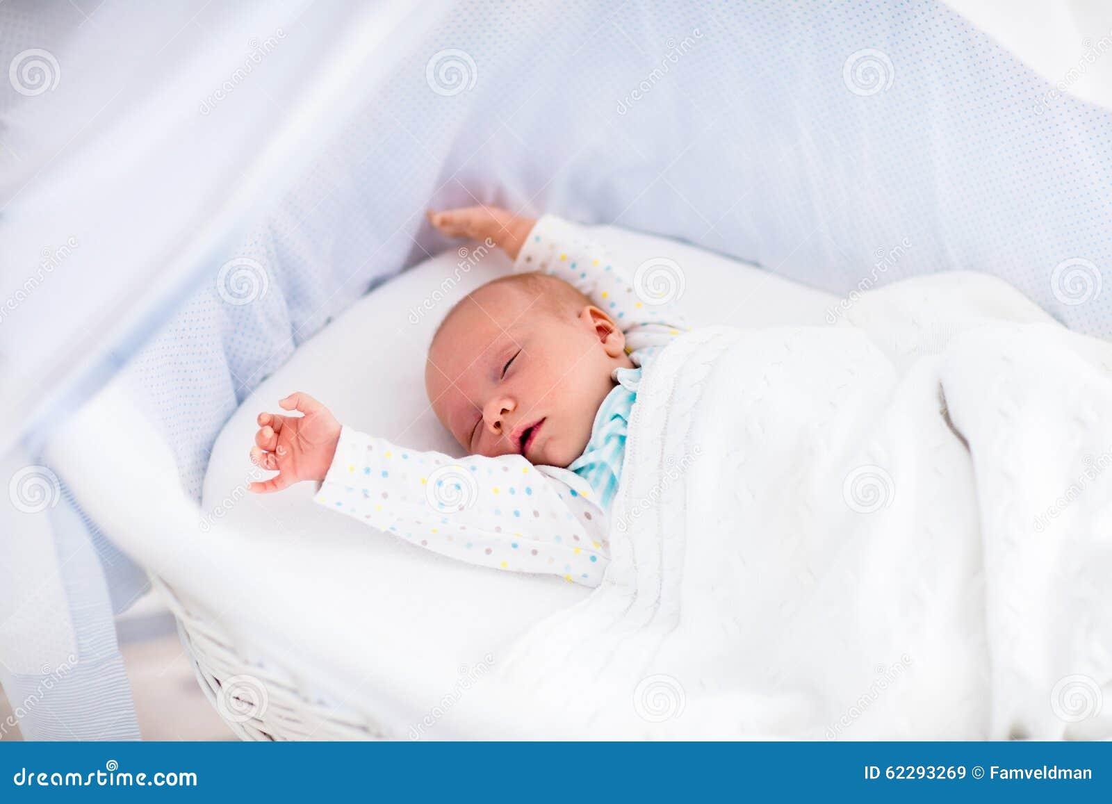 Cute Newborn Baby In White Bed Stock Image Image Of Blanket Nursery 62293269
