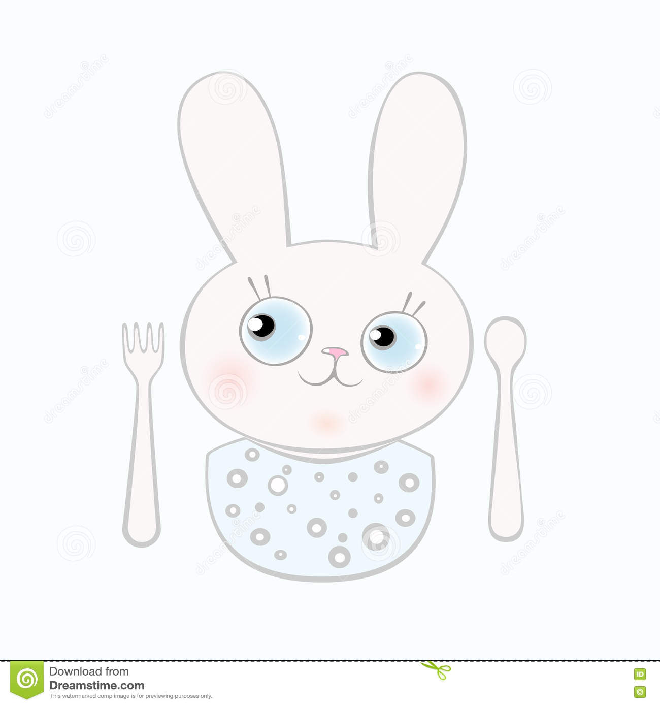 cute newborn bunny boy and with fork and spoon stock vector