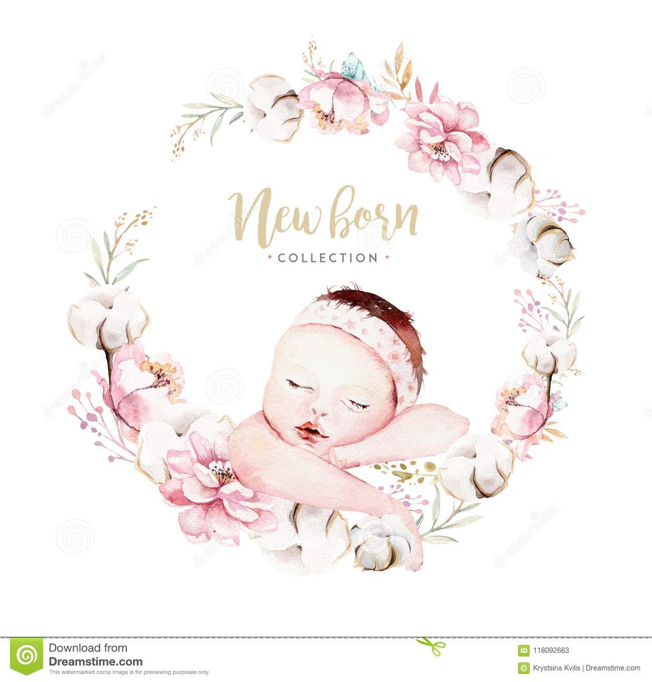Cute newborn watercolor baby. New born child illustration girl and boy painting. Baby shower isolated birthday painting