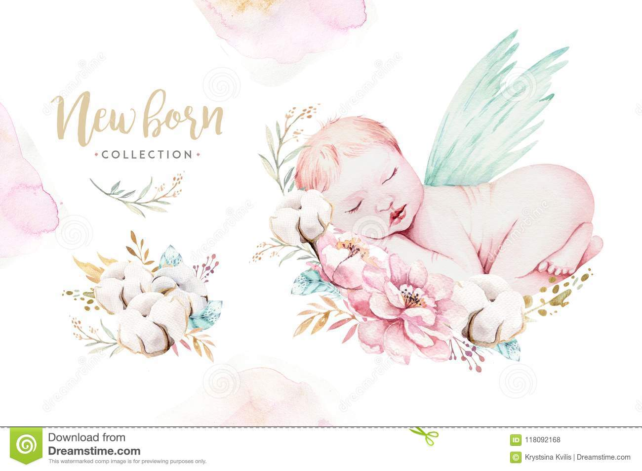 6a548151b Cute Newborn Watercolor Baby. New Born Child Illustration Girl And ...