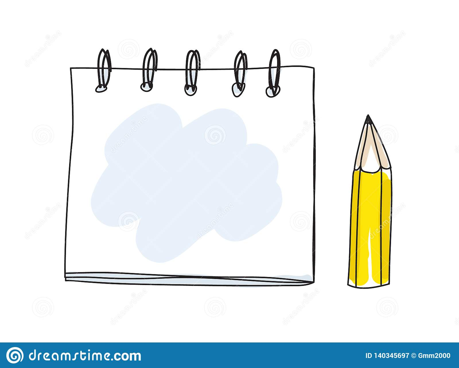 Cute note book and pencil handdrawn art vector illustration