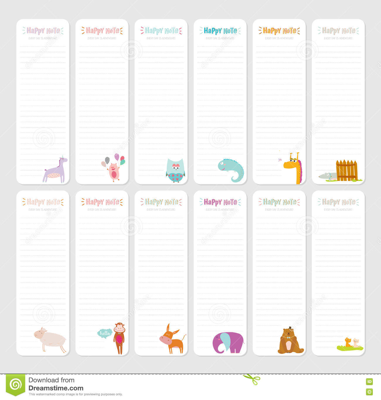photograph relating to Cute Printable Notebook Paper named Adorable Everyday Take note Template. inventory vector. Case in point of