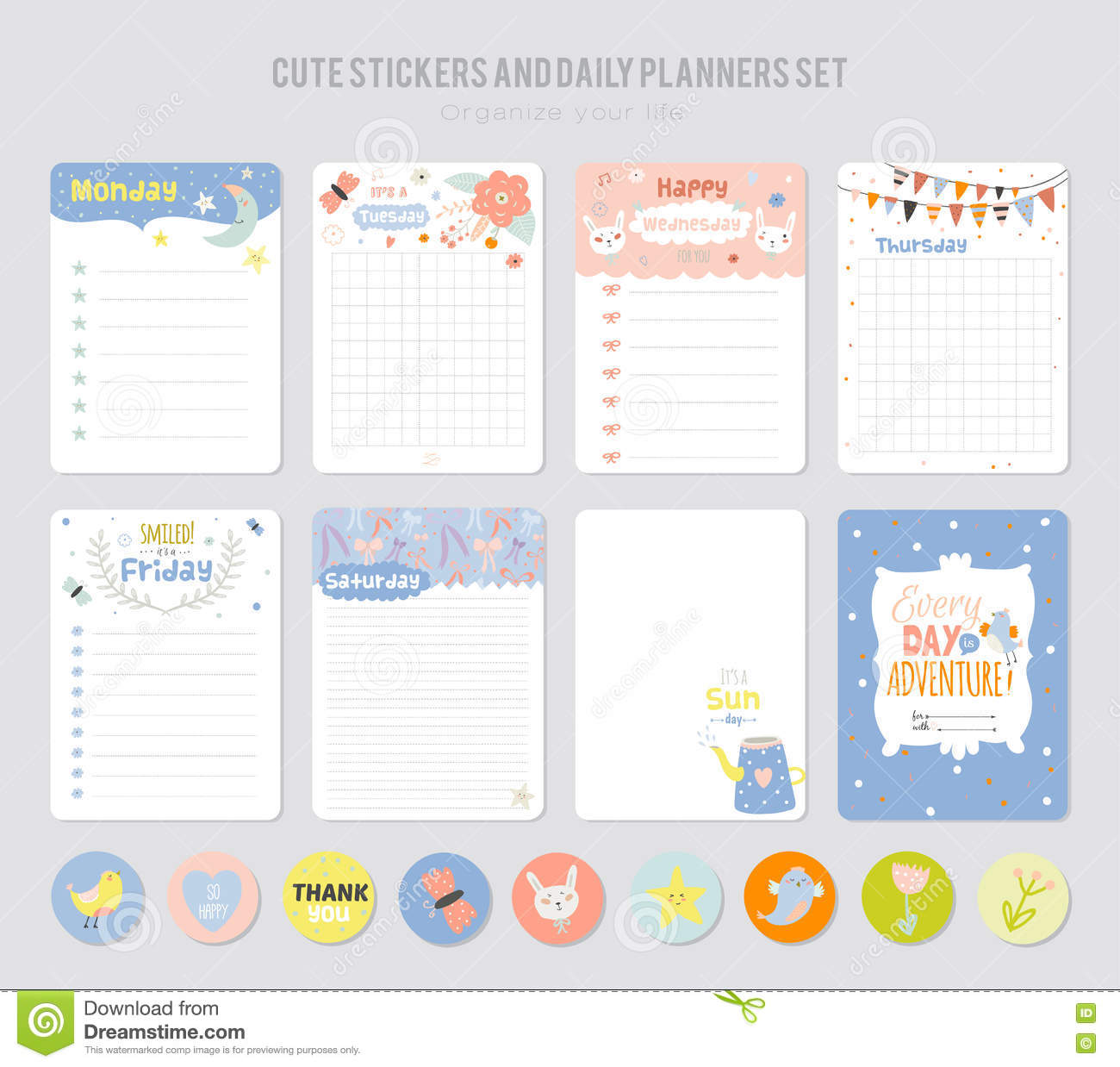 cute daily note template stock vector illustration of graphic