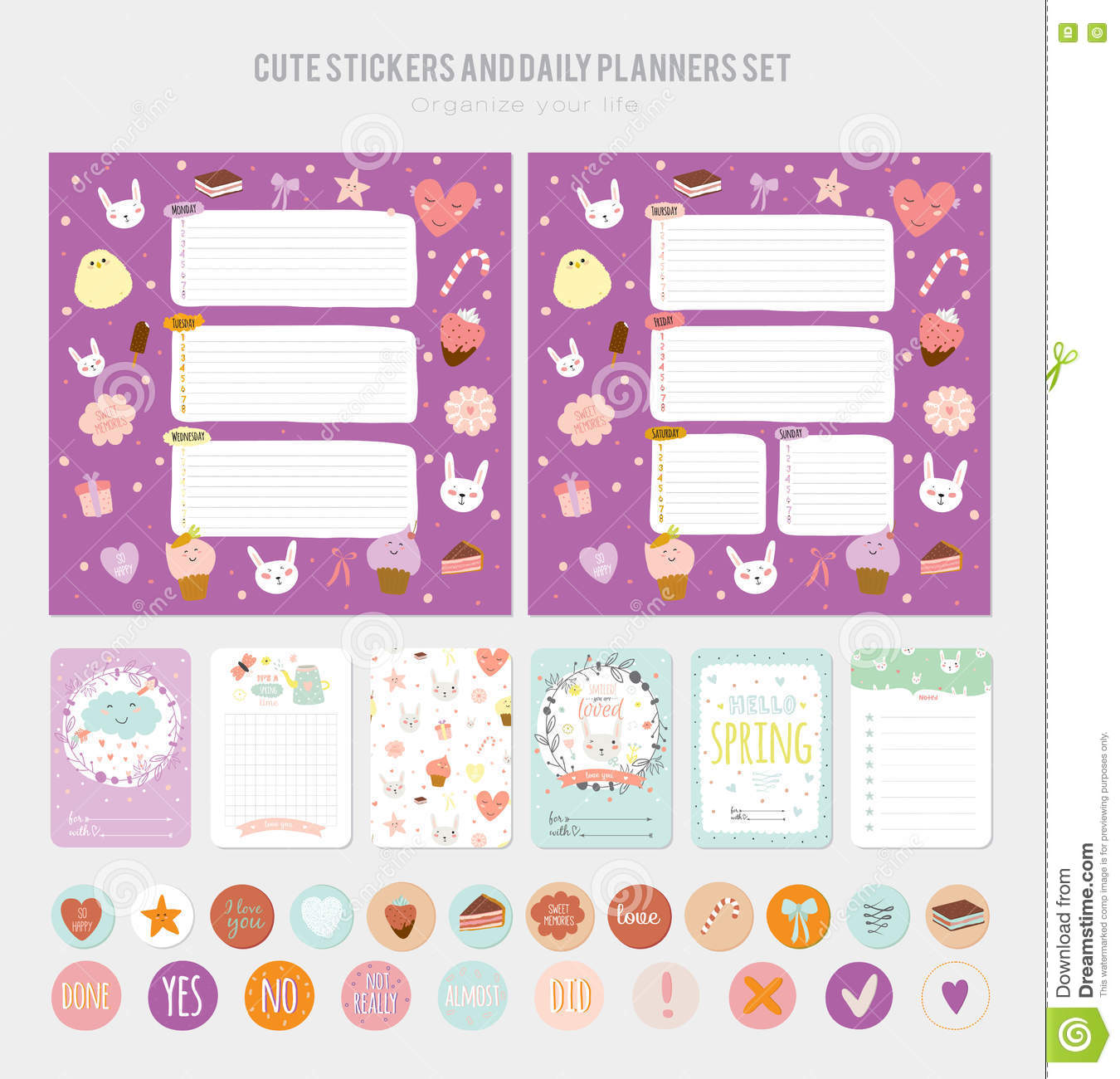 cute daily note template stock vector illustration of journal