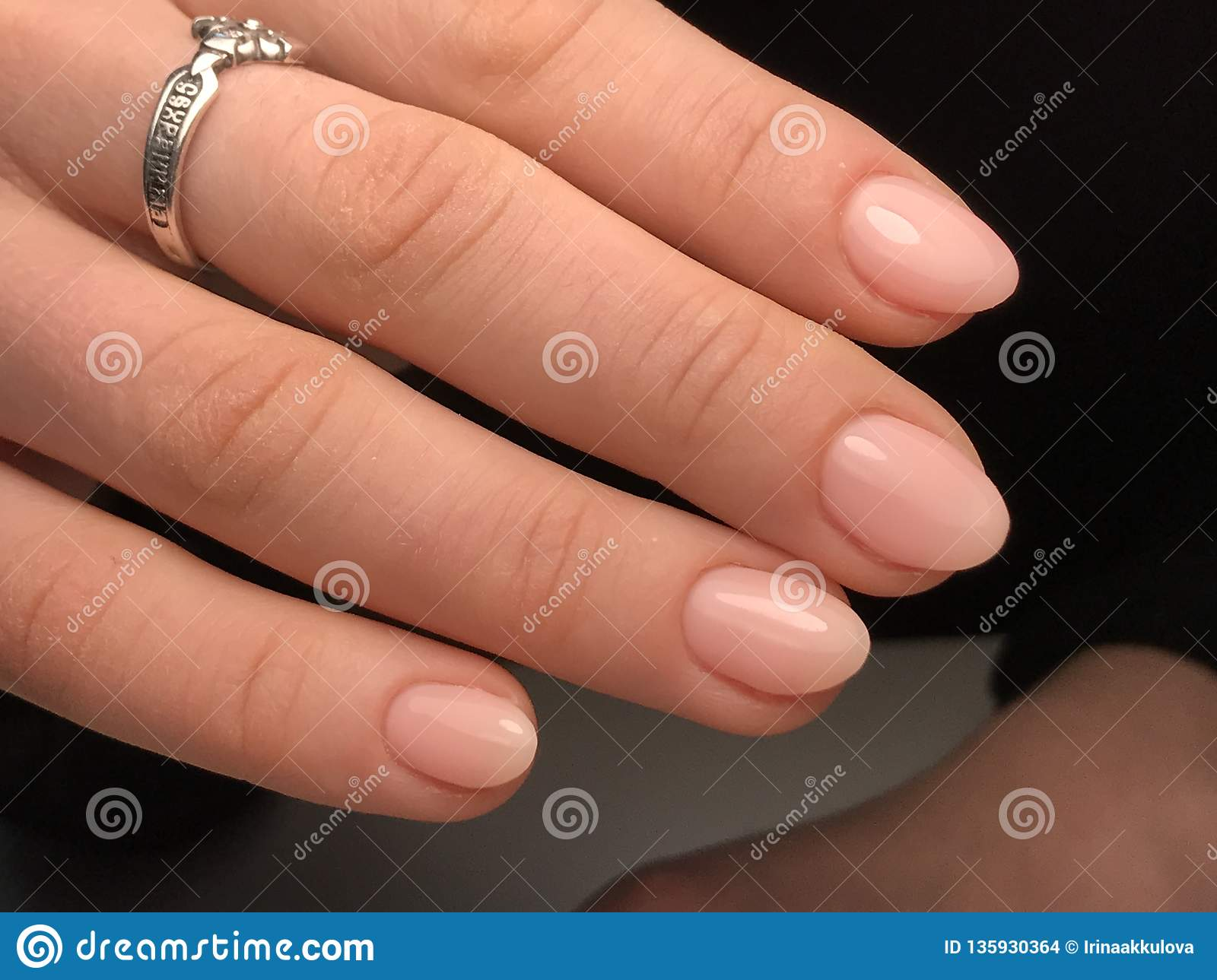 Cute nude nails stock photo. Image of heart, cute, manicure - 135930364