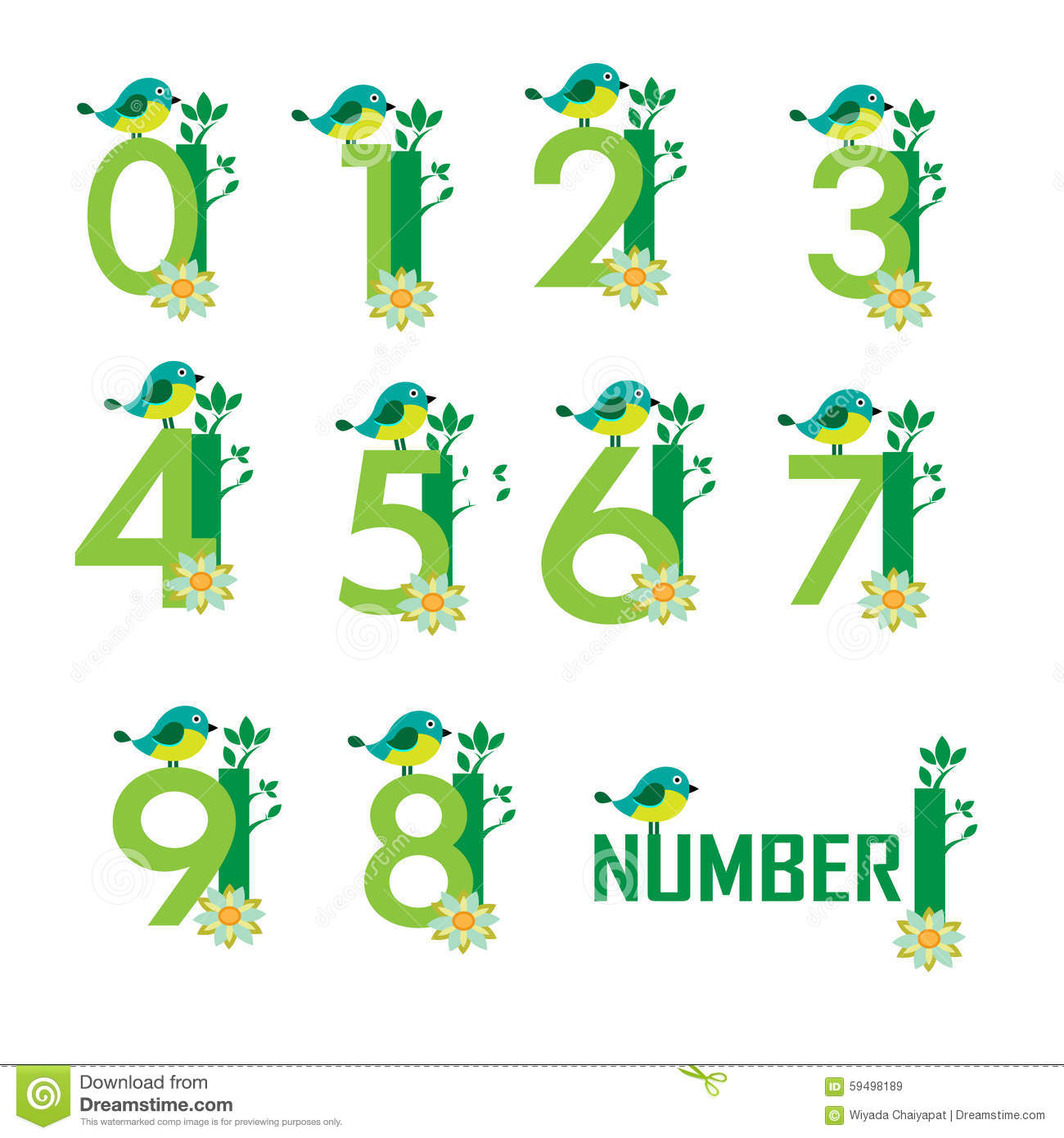 Cute Monster Numbers 0 And 1 For Kids And Children Stock Vector ...