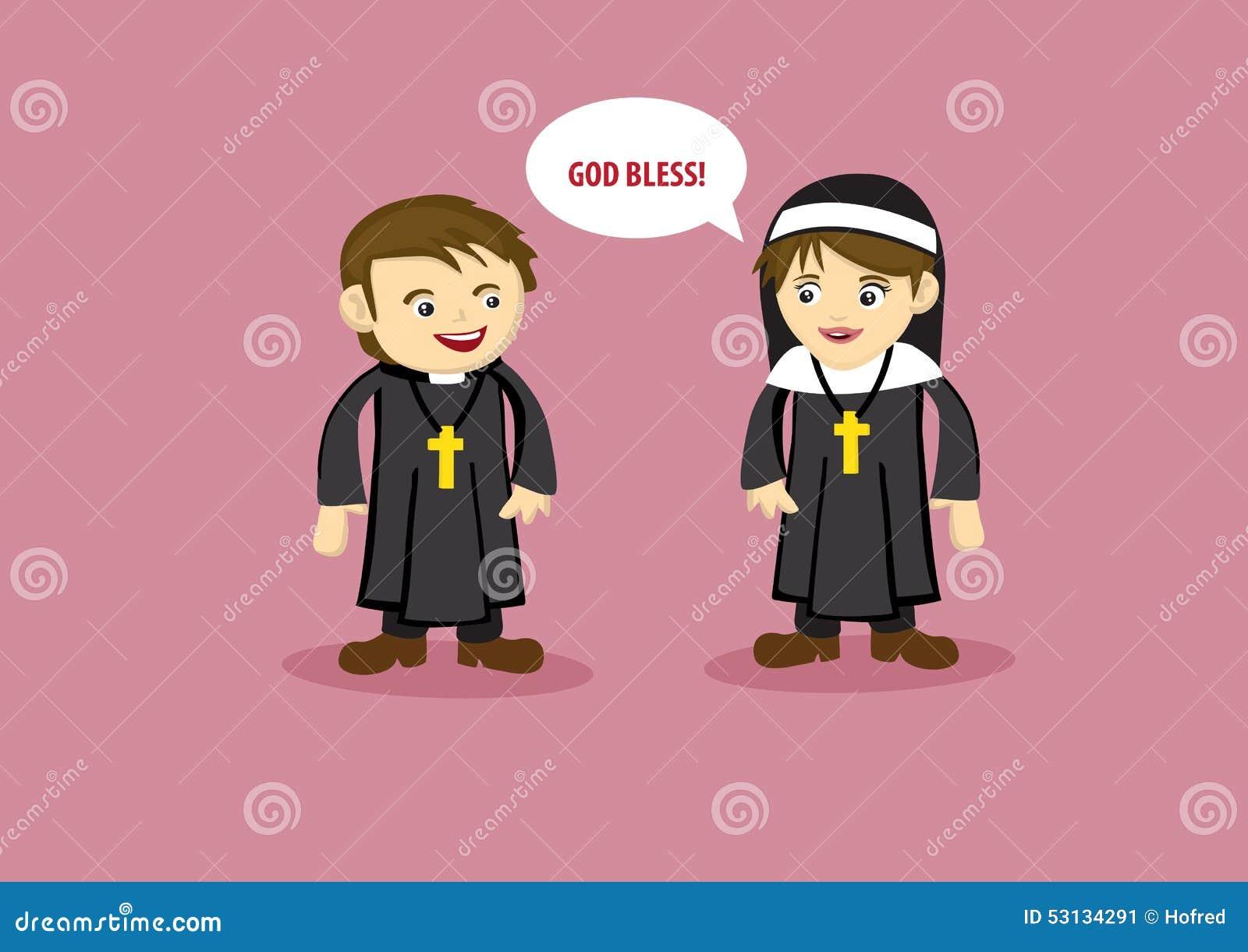 Cute Nun Says God Bless To Priest Cartoon Style Vector