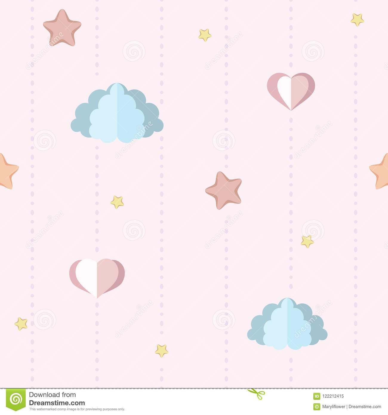 Cute Nursery Childrens Bedroom Wallpaper With Paper Clouds Stars And Hearts
