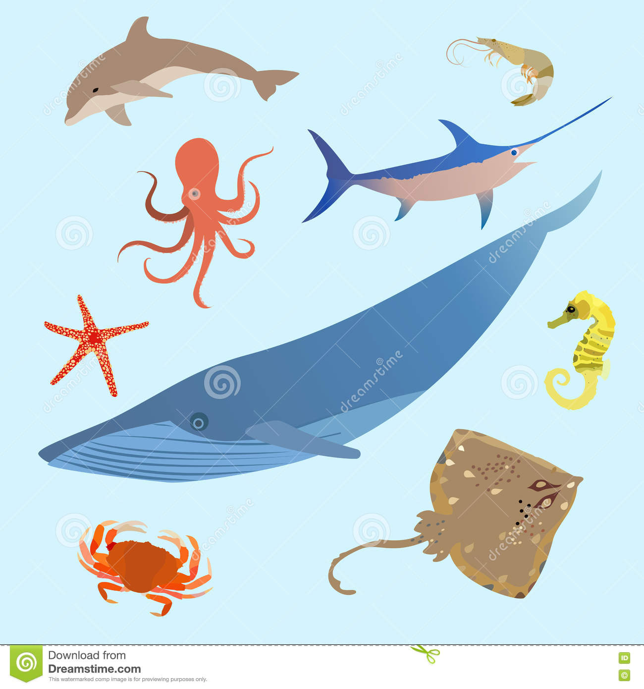cute ocean animals simple creatures octopus shark sea cartoon
