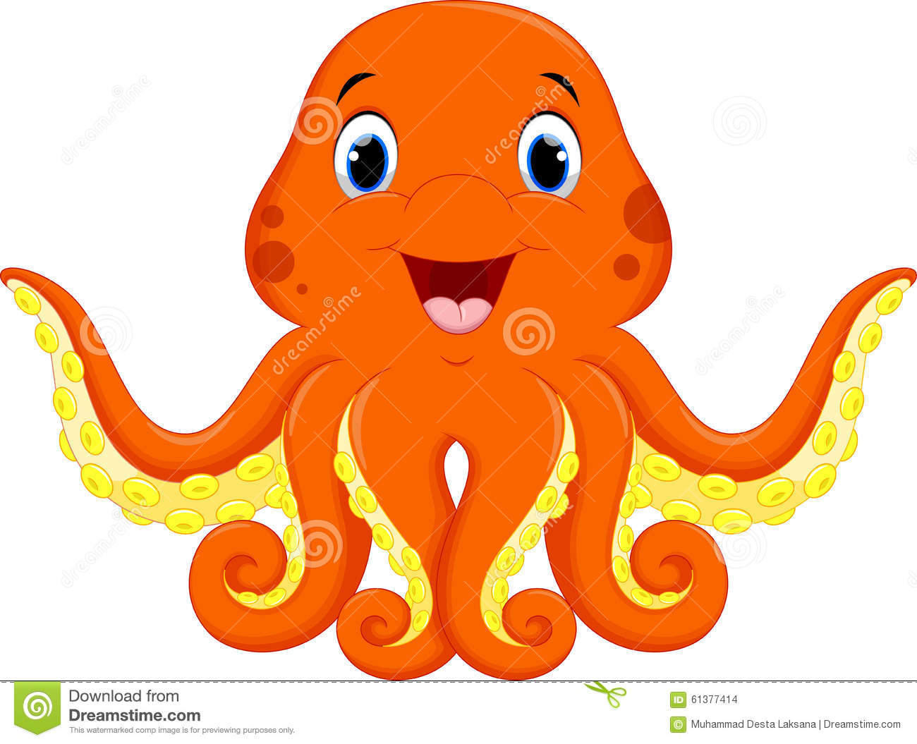 Cute Octopus Cartoon Stock Illustration - Image: 61377414