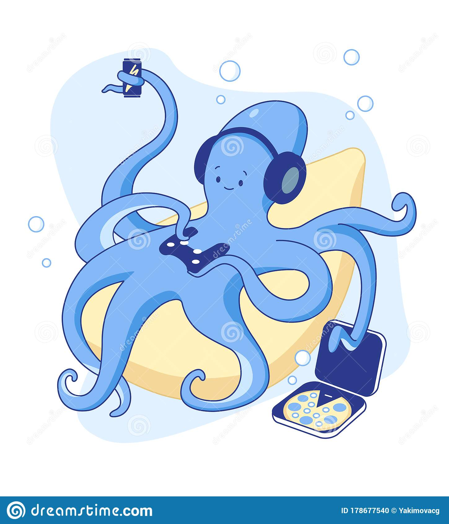 Cute Octopus Gamer Plays Videogame On Console At Home Stay At Home Stock Vector Illustration Of Relax Gamepad 178677540