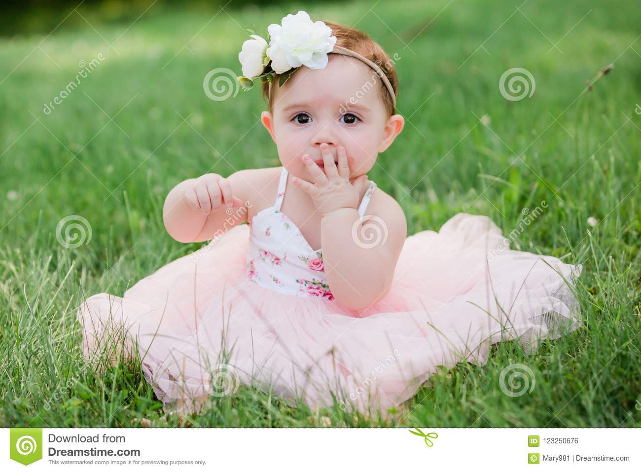 Cute one year old caucasian girl outside in grass wearing a pink summer  dress and floral headband