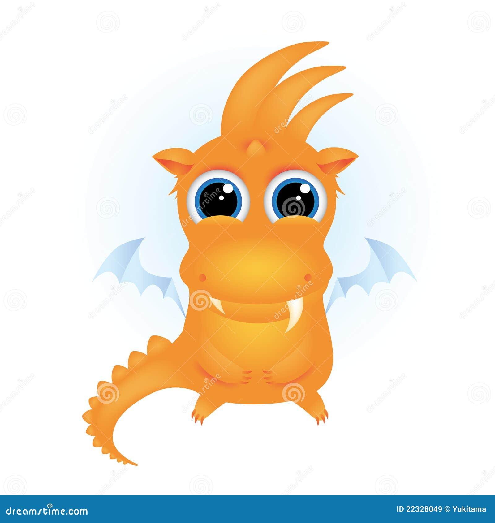 Cute Orange Cartoon Dragon Royalty Free Stock Images - Image: 22328049