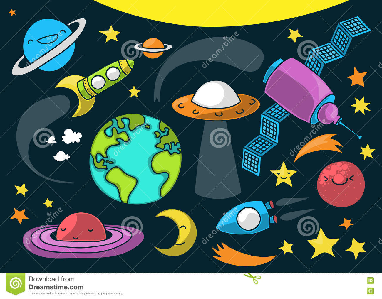Cute Outer Space Cartoon Stock Vector. Illustration Of