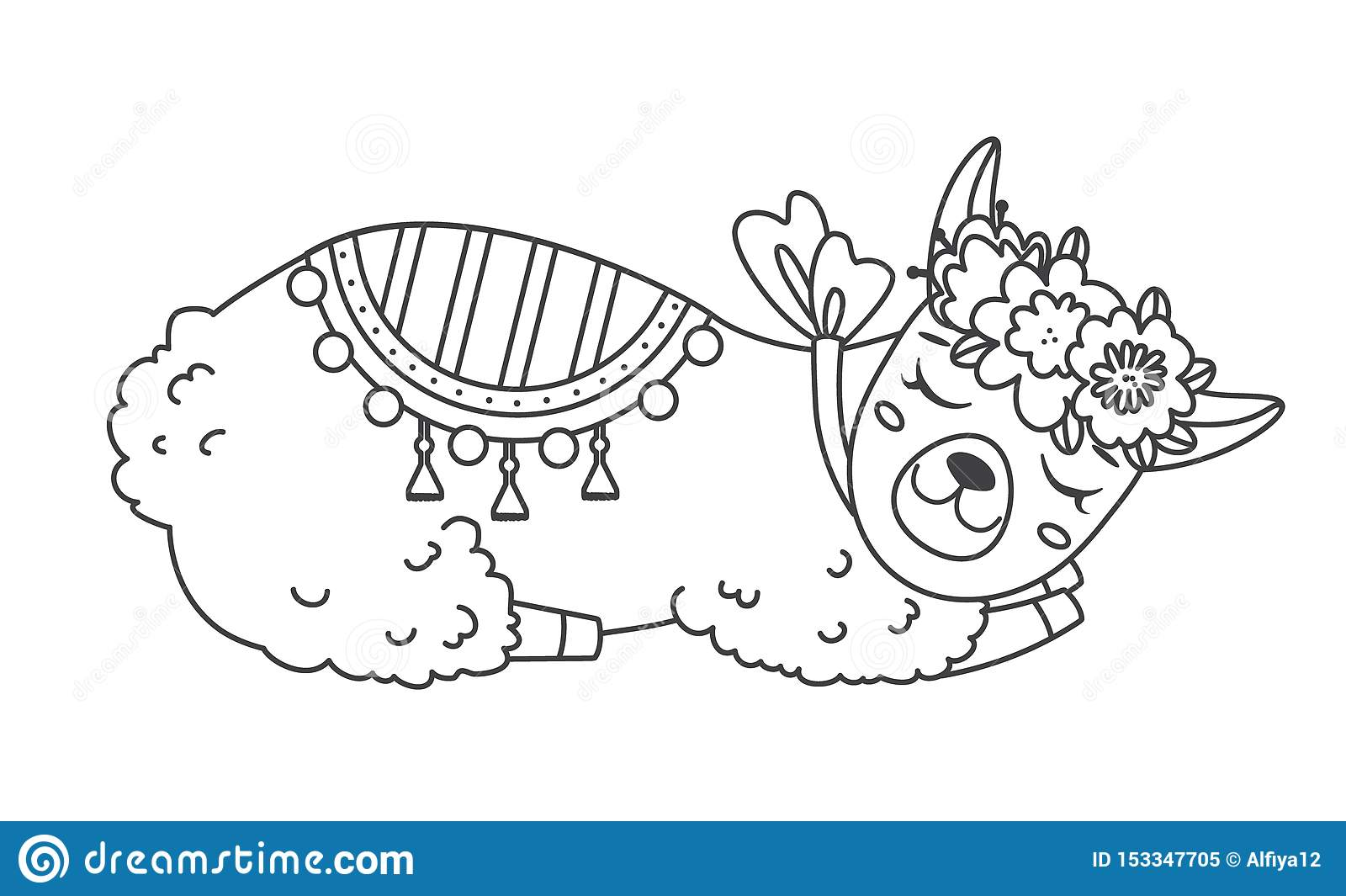 Cute Outline Doodle Sleeping Llama With Hand Drawn ...