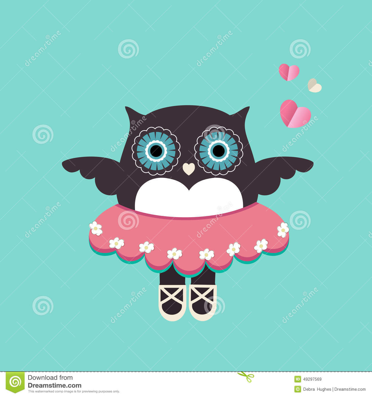 Cute Owl Ballerina With Tutu Slippers And Winds Flowers For Eyes