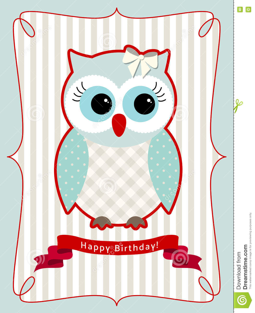 cute owl, birthday card, illustration stock vector  image, Birthday card
