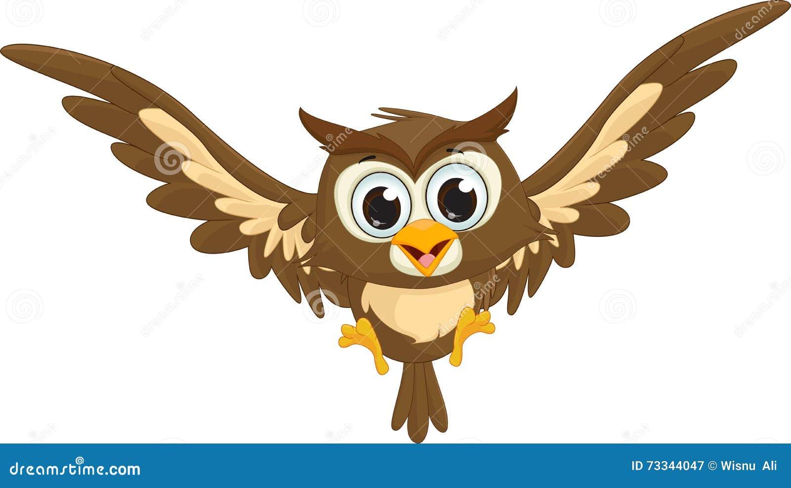 cute owl cartoon flying stock vector illustration of branch 73344047