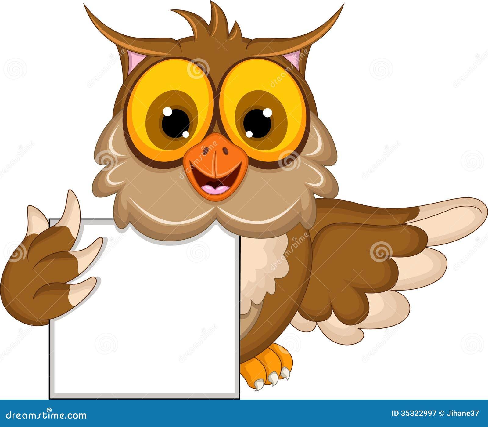 cute owl cartoon holding blank sign stock illustration