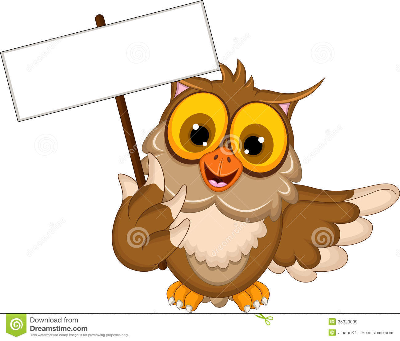 Cute Owl Cartoon Holding Blank Sign Stock Illustration ...
